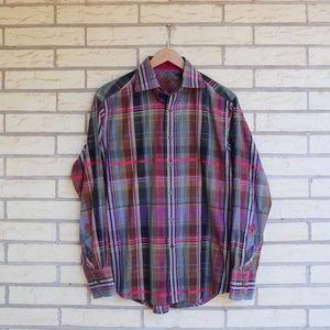 Robert Graham Button Front Plaid Shirt Purple M
